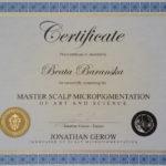 Master Scalp Micropigmentation Certificate for Beata Baranska