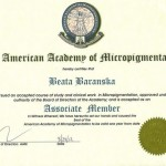 The American Academy of Micropigmentation Associate Member certificate for Beata Baranska