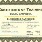 Certificate of Training in Bloodborne Pathogens