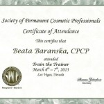 Certificate of Attendence, Society of Permanent Cosmetic Professionals