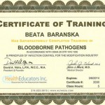 Certificate of Training in Bloodborne Pathogens