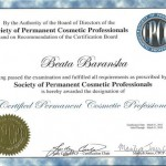 Society of Permanent Cosmetic Professionals certificate for Beata Baranska